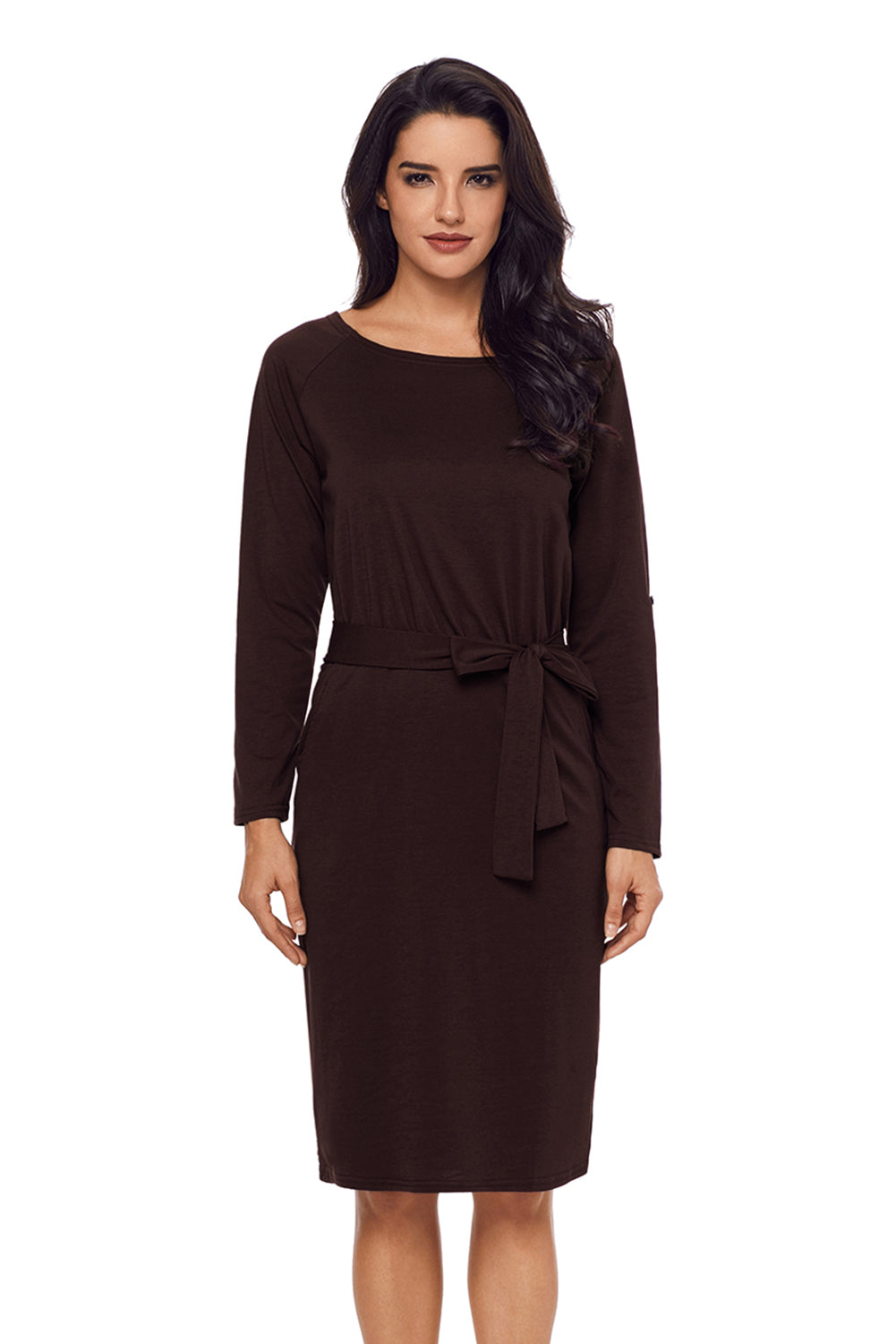 Her Fashion Black Roll-tab Long Sleeve Tie Waist Women Midi Dress