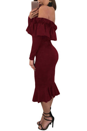 Her Fashion Burgundy Long Sleeve Ruffle Off Shoulder Dress