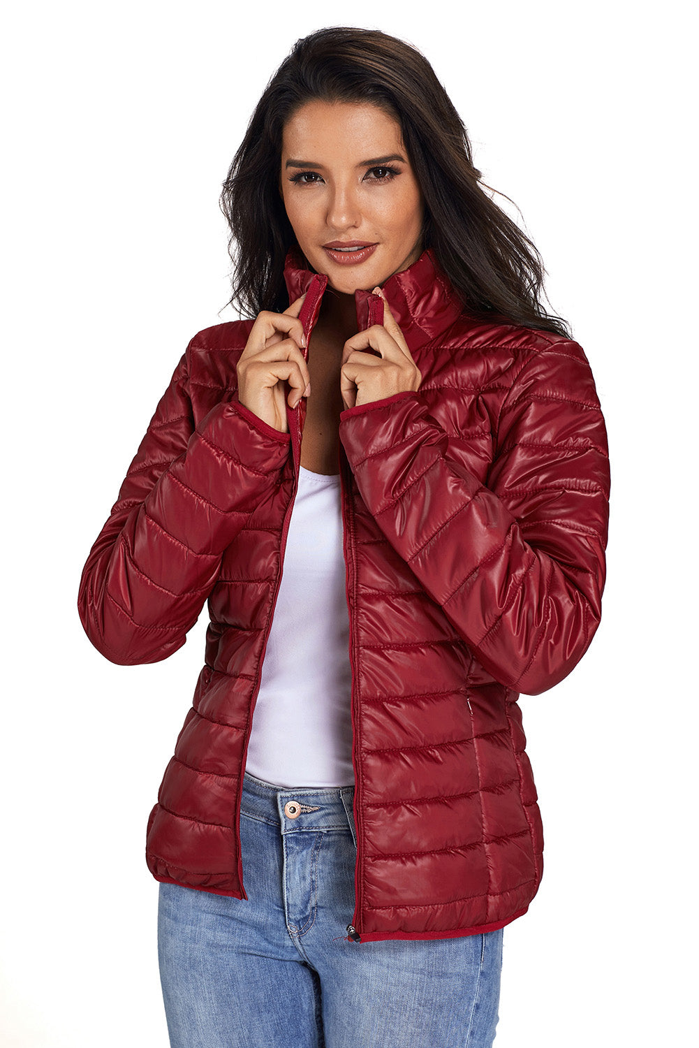 Her Fashion Khaki High Neck Quilted Cotton Women Jacket