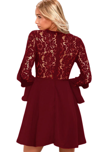 e010621c4a8d Her Fashion Dark Red Lace Long Sleeve Flattering Skater Dress ...