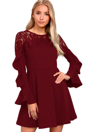 Her Fashion Black Lace Long Sleeve Flattering Skater Dress