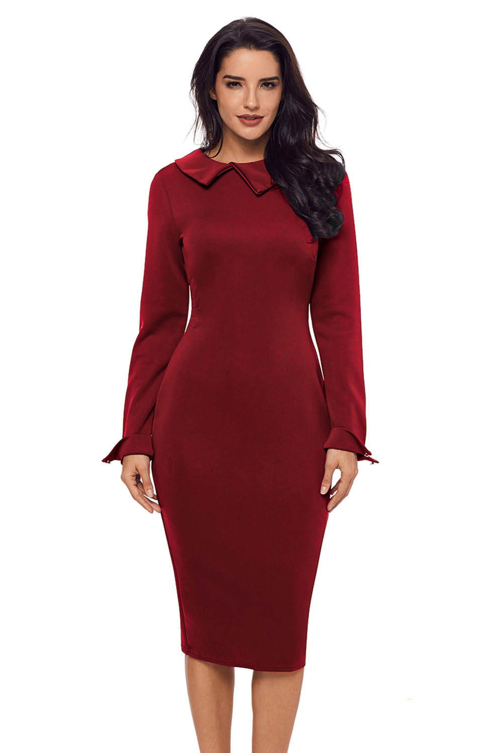 Her Fashion Burgundy Lapel Neck Bodycon Formal Women Pencil Dress