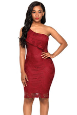 Her Fashion Burgundy Laser Cut One Shoulder Stunning Party Dress