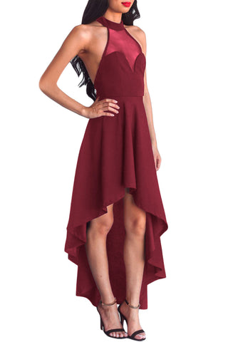 Her Fashion Burgundy Sheer Mesh Decolletage Hi-low Stunning Party Dress