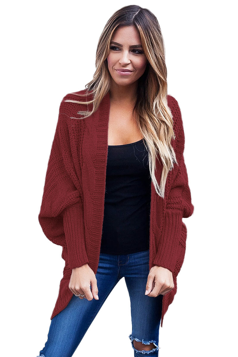 Her Fashion Mocha Ribbed Cuffs Dolman Sleeved Stylish Cardigan