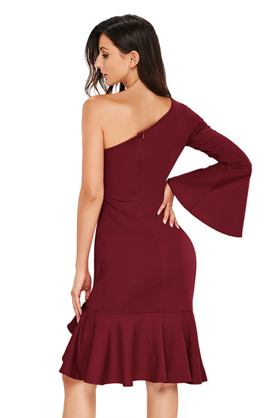 Her Fashion Burgundy Twist & Ruffle Accent OneShoulder Stylish Prom Dress