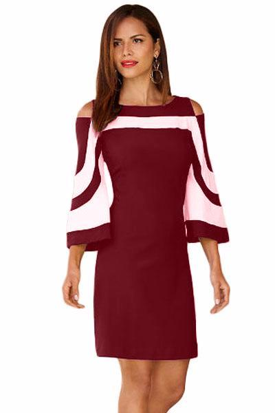 Her Fashion Burgundy White Colorblock Flare Sleeves Mini Dress