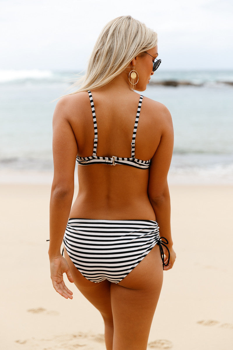 Her Fashion Chic Black White Striped Bikini Push Up 2pcs Swimsuit