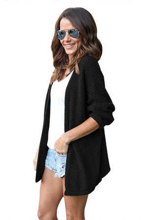 Her Fashion Classic Grey Windy Morning Waffle Cardigan