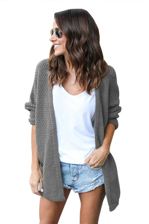 Her Fashion Classic Black Windy Morning Waffle Cardigan