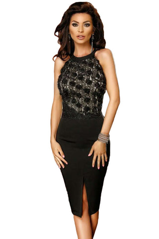 Her Fashion Classy Black Rose Lace Top Midi Bodycon Dress