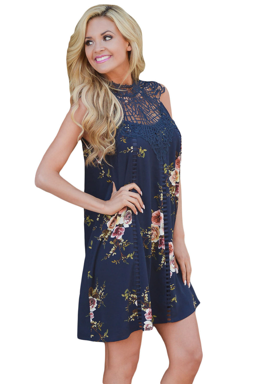 Her Fashion Classy Apricot Crochet Lace Neck Floral Dress