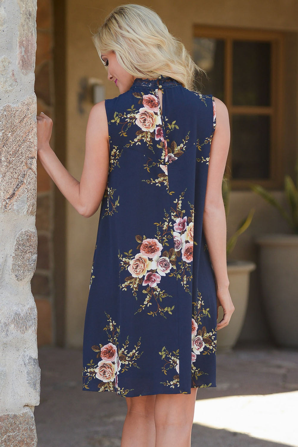 Her Fashion Classy Navy Crochet Lace Neck Floral Dress