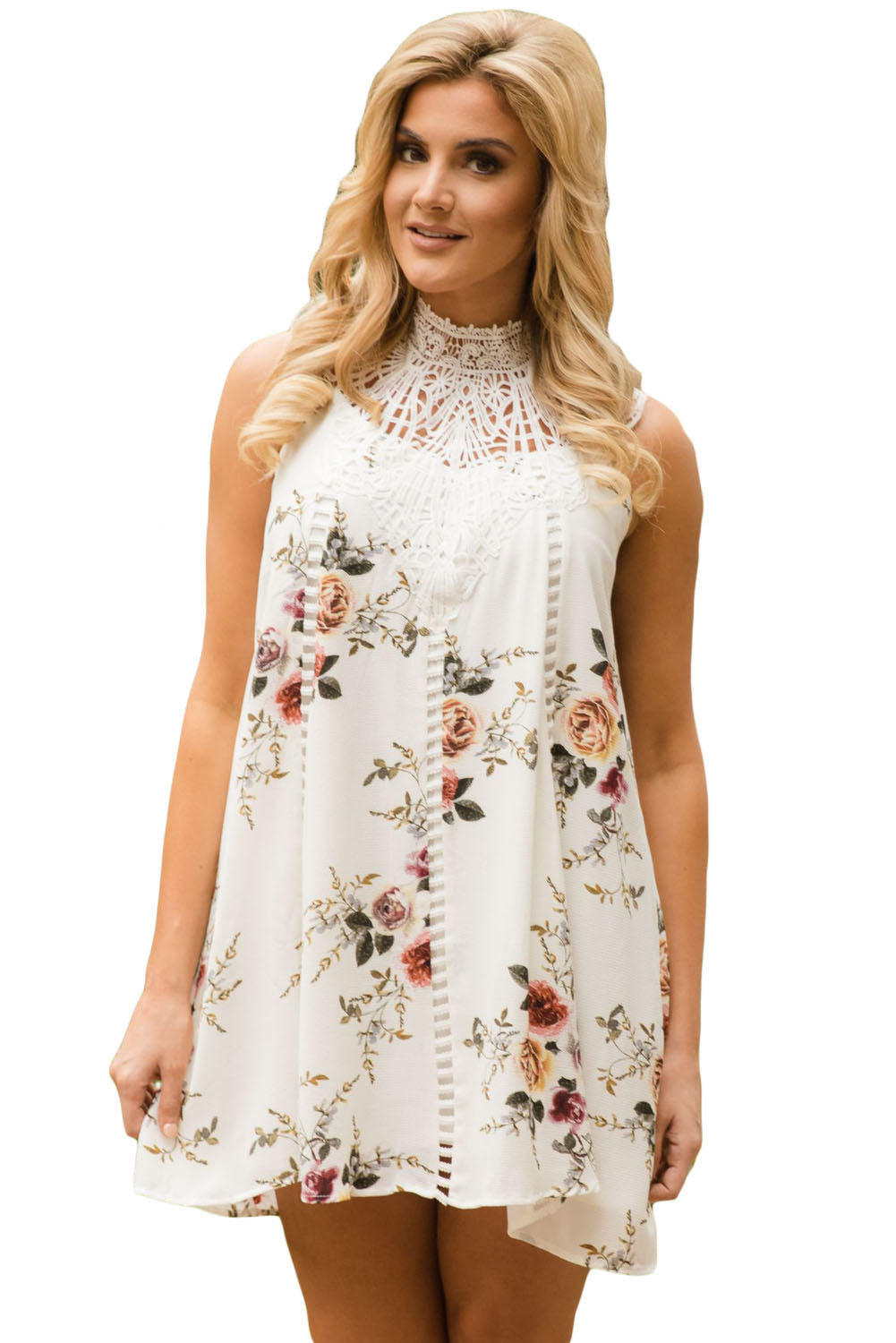 Her Fashion Classy White Crochet Lace Neck Floral Dress