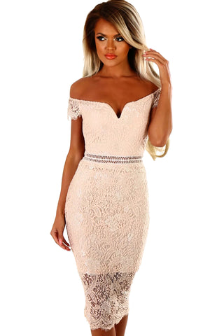 Her Fashion Cocktail Apricot Lace Bardot Bodycon Midi Dress