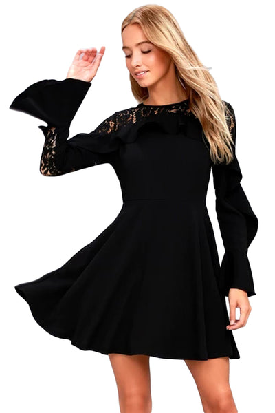 a310bff028 Her Fashion Black Lace Long Sleeve Flattering Skater Dress ...