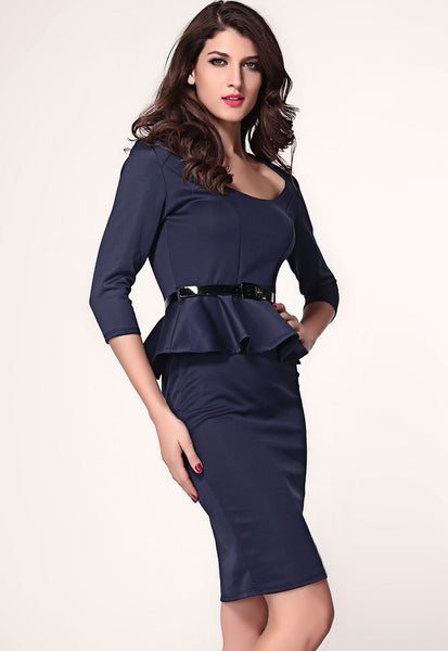 Her Fashion Dark Blue Long Sleeve Belted Peplum Midi Dress