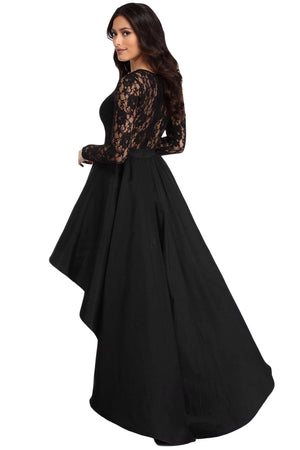 Her Fashion Elegant Black Lace High Low Satin Women Prom Dress