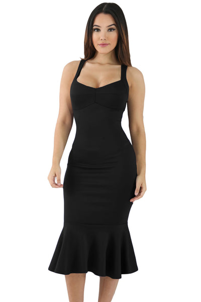 Her Fashion Elegant Black Mermaid Sweetheart Bodycon Dress