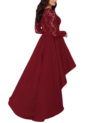 Her Fashion Elegant Burgundy Lace High Low Satin Women Prom Dress