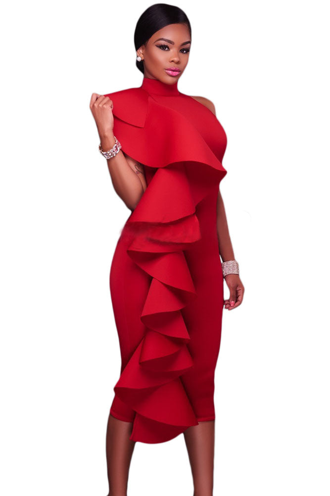 Her Fashion Elegant Red Halter High Neck Ruffled Midi Party Dress