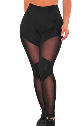 Her Fashion Exercise Repertoire Cutout Black Sheer Mesh Gym Leggings