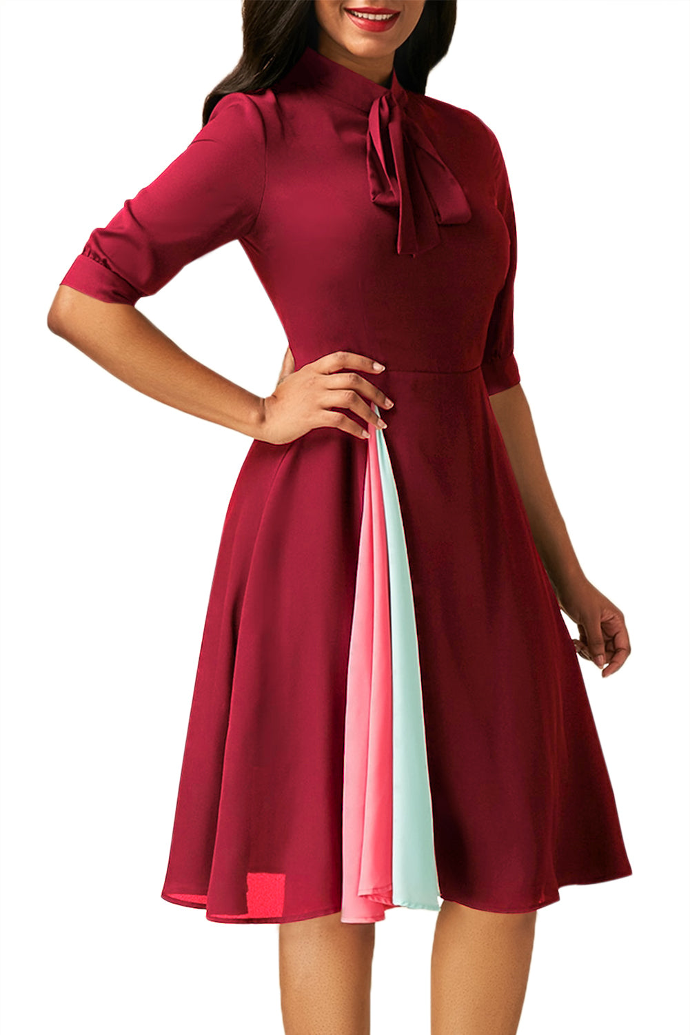 Her Fashion False Slit Splice Burgundy Bow Tie 80s-inspired Dress