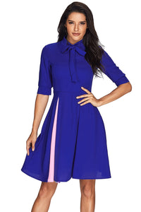 Her Fashion False Slit Splice Navy Blue Bow Tie 80s-inspired Dress