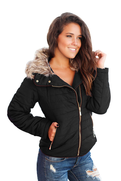Her Fashion Faux Fur Collar Trim Camel Quilted Women Jacket