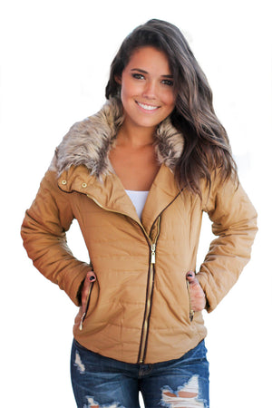 Her Fashion Faux Fur Collar Trim Black Quilted Women Jacket