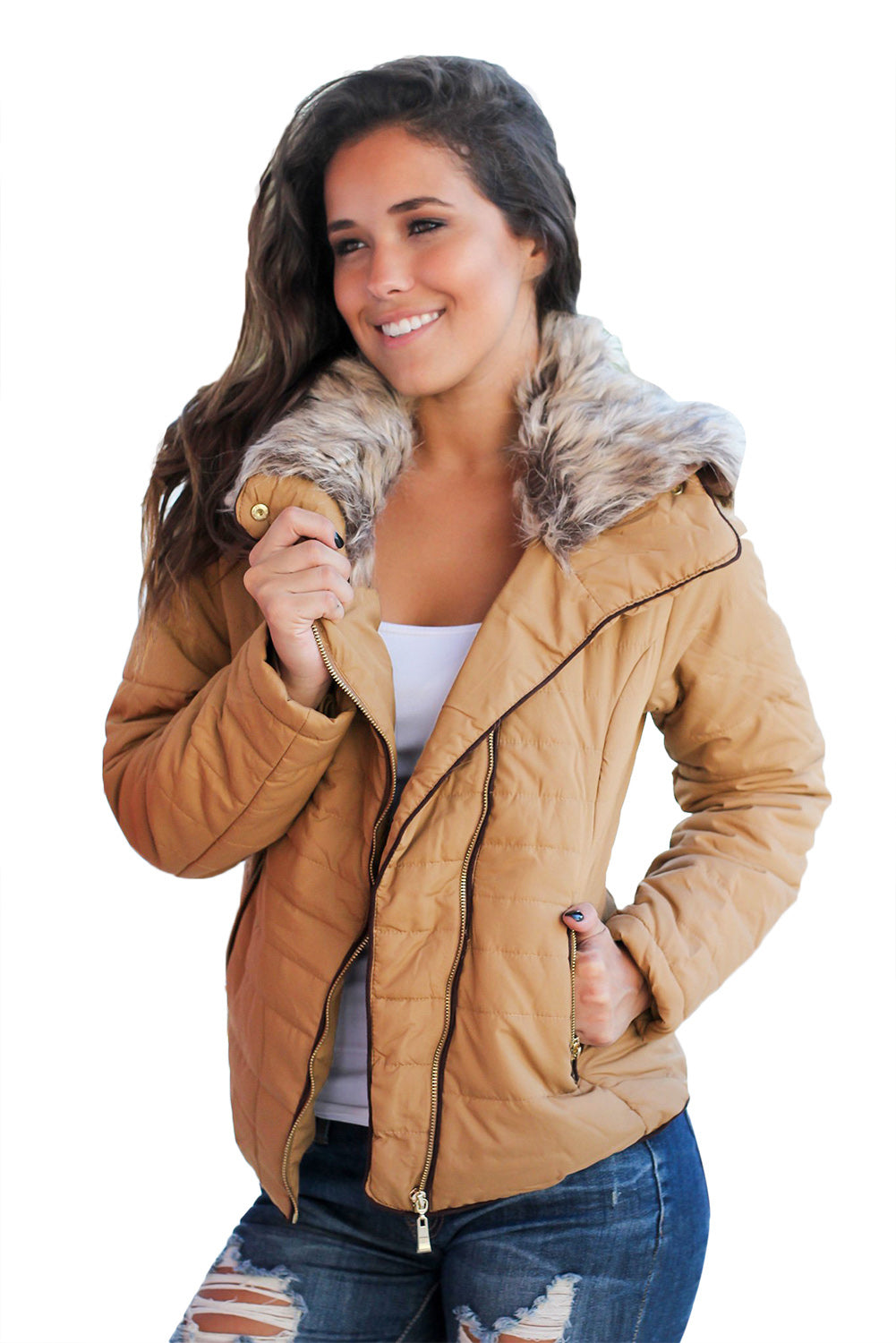 Her Fashion Faux Fur Collar Trim Green Quilted Women Jacket
