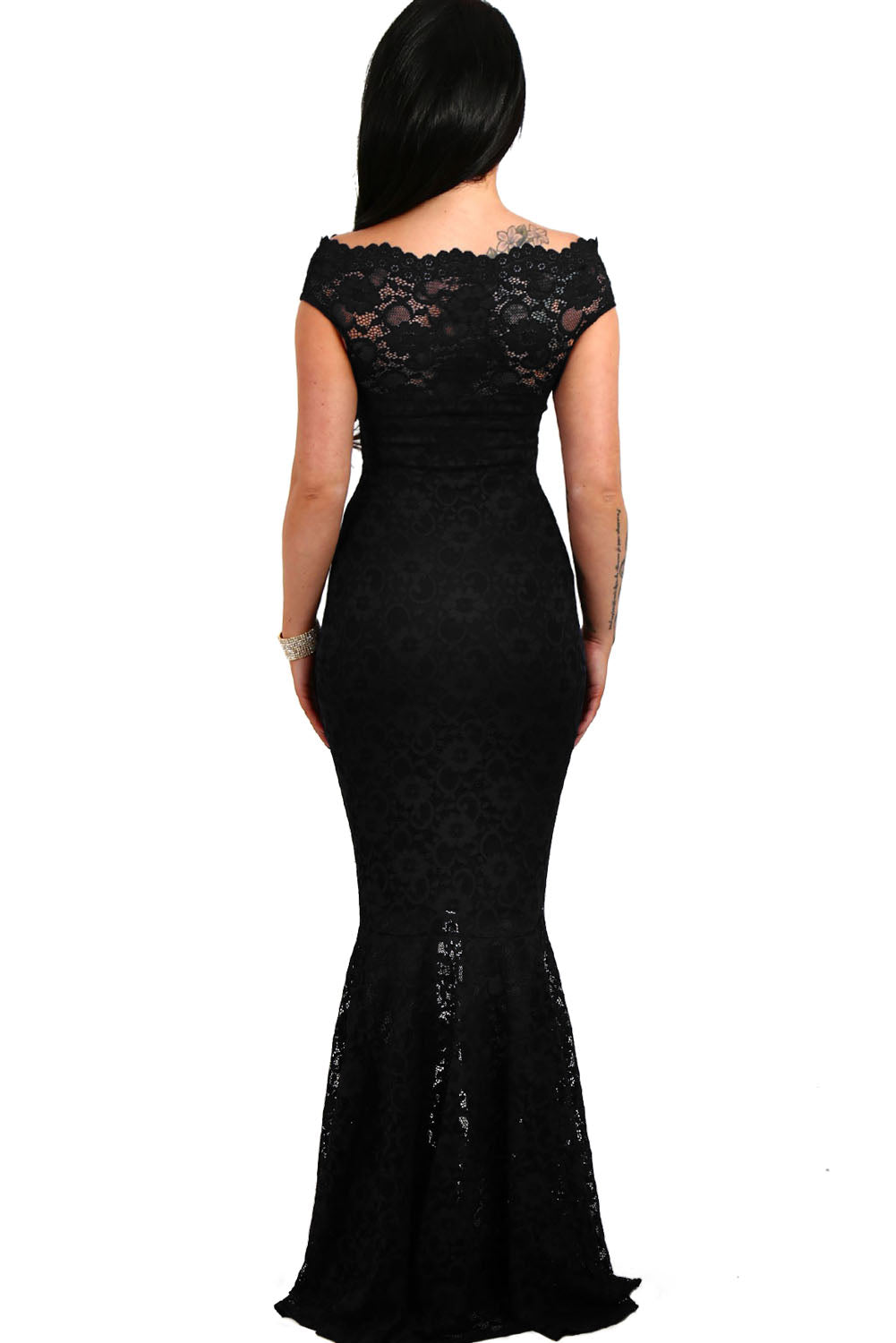 Her Fashion Gorgeous Navy Bardot Lace Fishtail Wedding Maxi Dress