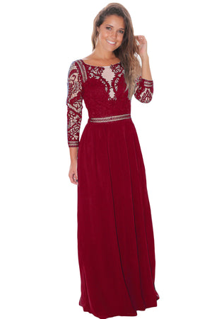 Her Fashion Gorgeous Red Lace Crochet Quarter Sleeve Maxi Dress