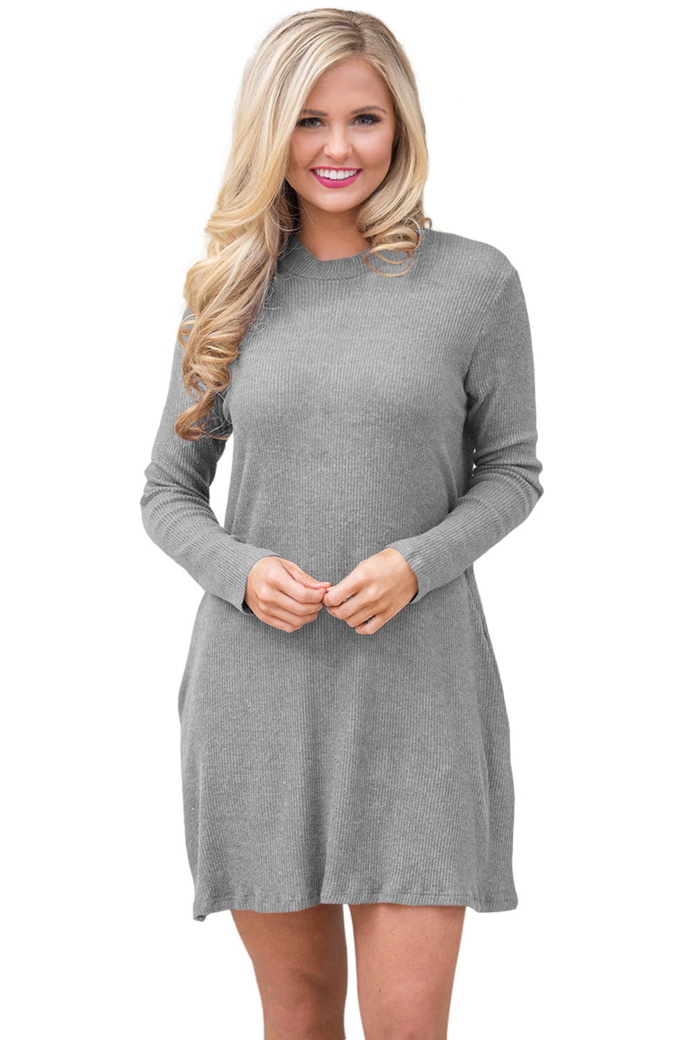 Her Fashion Gorgeous Grey High Neck Long Sleeve Knit Sweater Dress