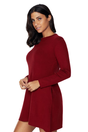 Her Fashion Gorgeous Black High Neck Long Sleeve Knit Sweater Dress