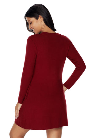 Her Fashion Gorgeous Maroon High Neck Long Sleeve Knit Sweater Dress