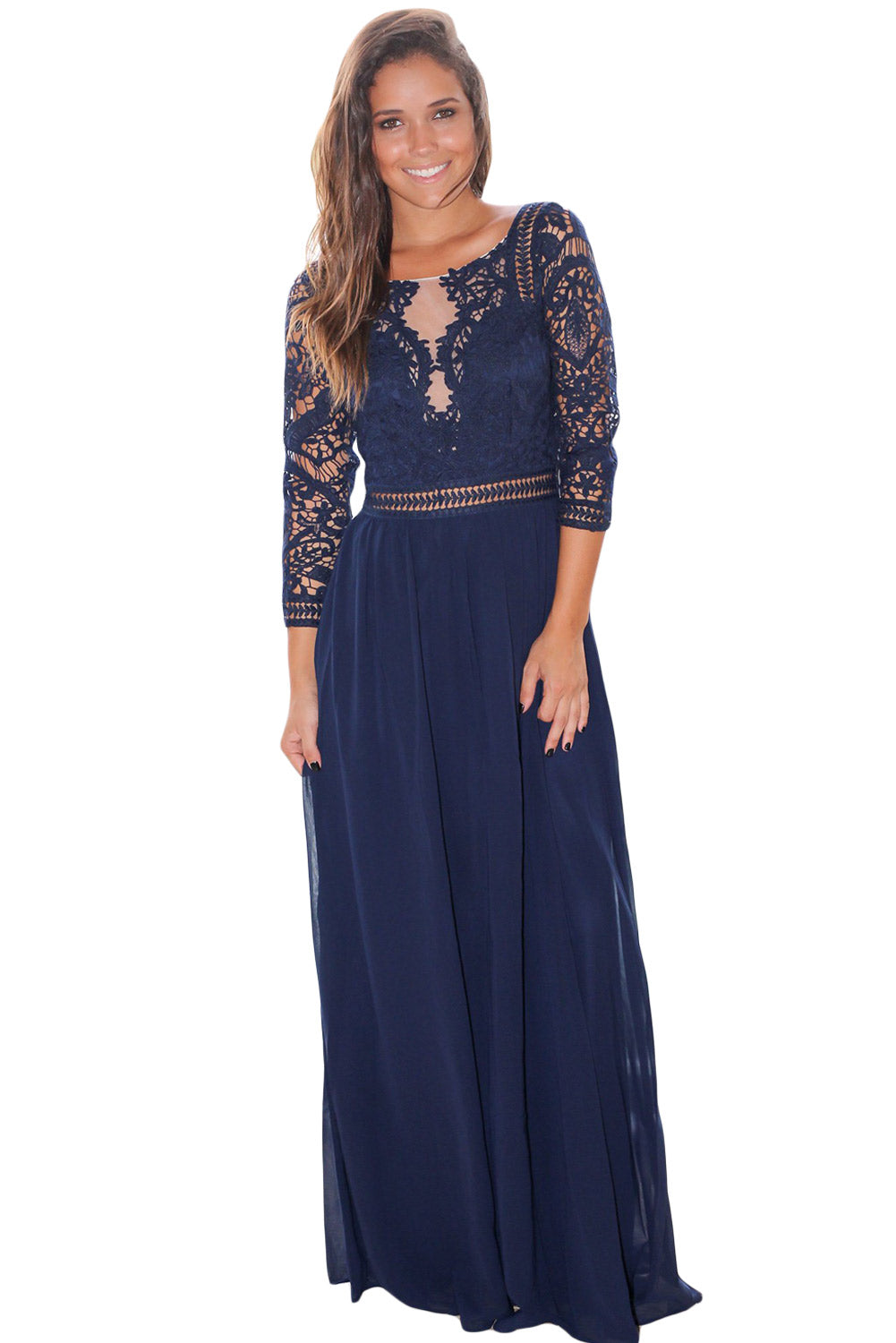 Her Fashion Gorgeous Navy Lace Crochet Quarter Sleeve Maxi Dress