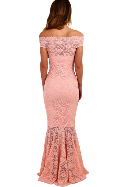 Her Fashion Gorgeous Pink Bardot Lace Fishtail Wedding Maxi Dress