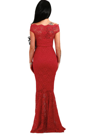 Her Fashion Gorgeous Red Bardot Lace Fishtail Wedding Maxi Dress