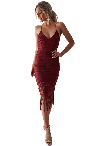 Her Fashion Gorgeous Red Fashion Trendy Backless Lace Dress