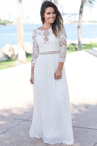 Her Fashion Gorgeous White Lace Crochet Quarter Sleeve Maxi Dress