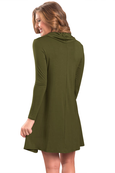 Her Fashion Green Cowl Neck Long Sleeve Casual Loose Swing Dress