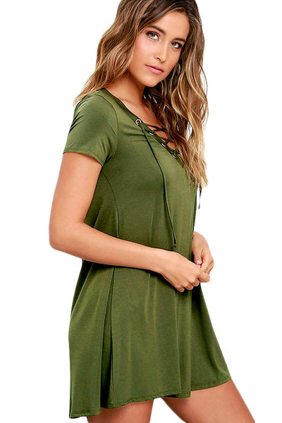 Her Fashion Green Lace-Up V-Neck Chic Style Swing Dress