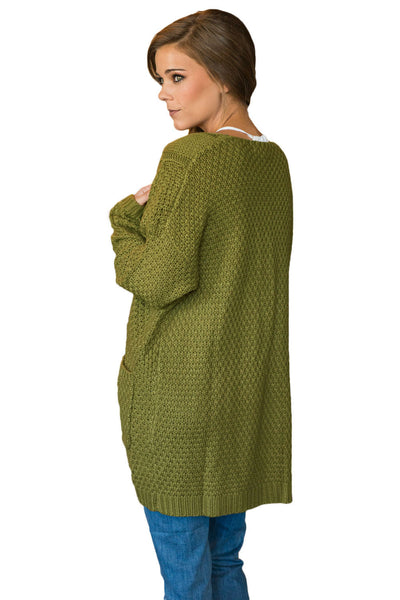 Her Fashion Army Green Long Open Front Pocket Chic Cardigan