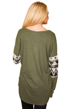 Her Fashion Olive Loose Sequin Christmas Festive Women Top