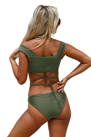 Her Fashion Army Green Strappy Crisscross Trendy Tankini Swimsuit