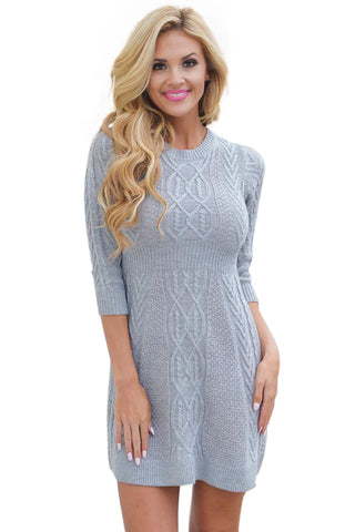 Her Fashion Grey Cable Knit Fitted 3/4 Sleeve Trendy Sweater Dress