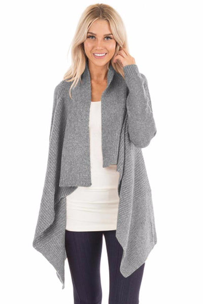 Her Fashion Grey Chic Waterfall Long Sleeve Sweater Cardigan