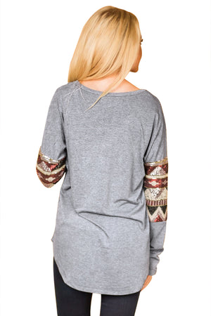 Her Fashion Grey Loose Sequin Christmas Festive Women Top