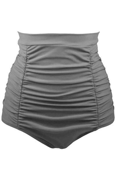 Her Fashion Grey Retro High Waisted Beach Style Swim Short